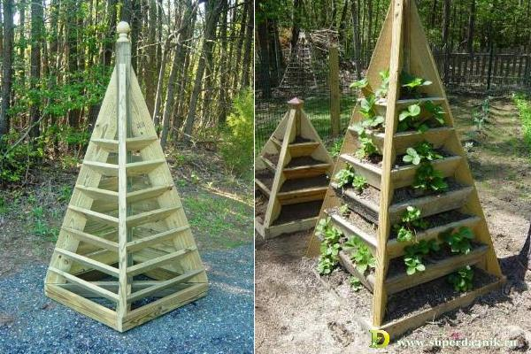 Вертикальные грядки для клубники пирамида