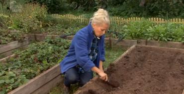 женщина копает грядку