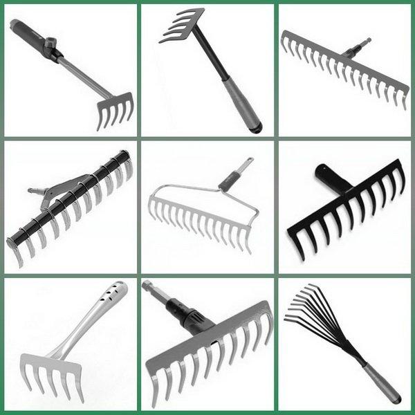 Различные виды хозяйственных граблей