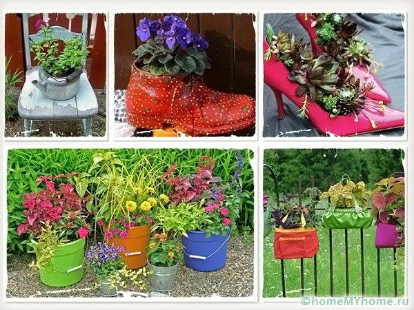 Несколько идей создания цветников из старых вещей