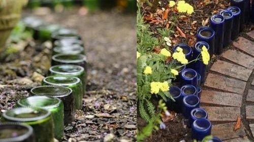 Оградки из стеклянных бутылок разных цветов и размеров