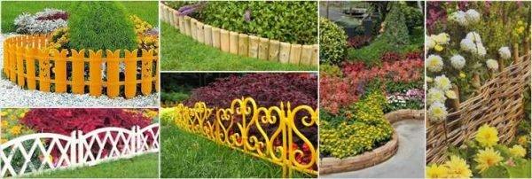 Несколько вариантов оформления оградок для цветников