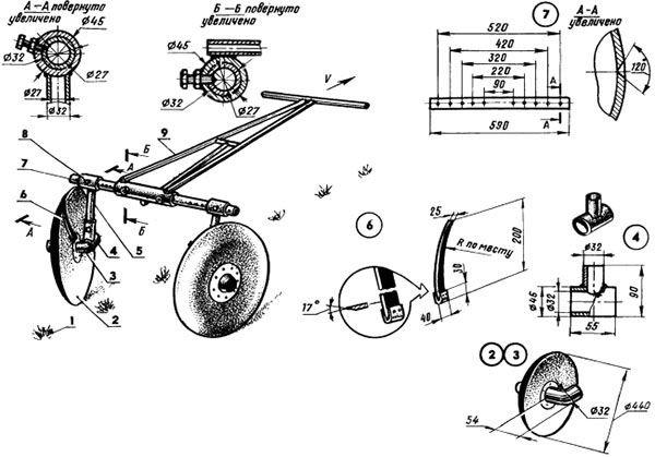 Схема окучника дискового типа конструкции