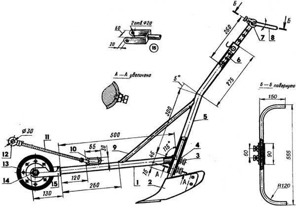 Схема окучника плужного типа конструкции