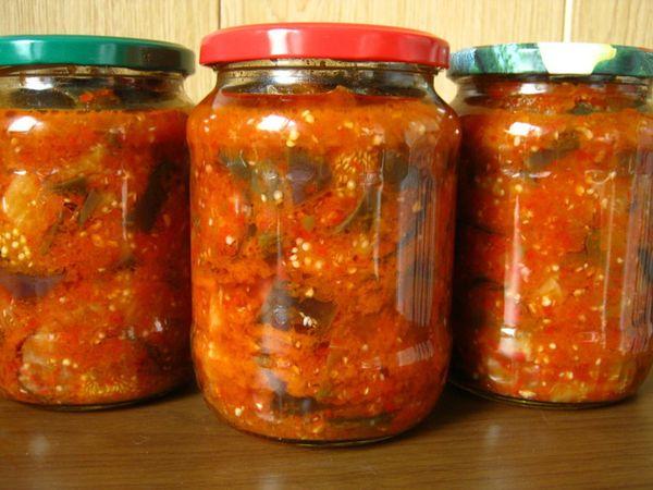 Маринованные синие с томатами и сладким перцем