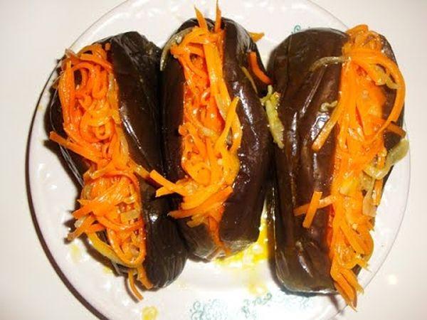 Маринованные фаршированные баклажаны с морковью
