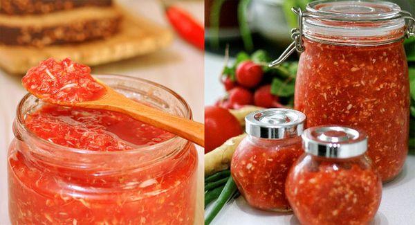 Маринованный хрен с чесноком и помидорами
