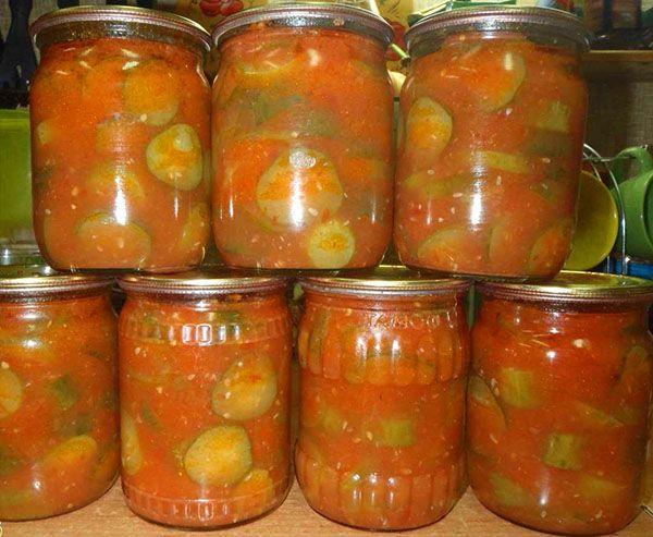 Маринованные огурцы в томатной заливке
