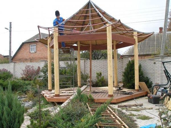 Строительство крыши японской беседки