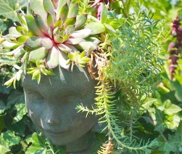 Цветники с изображениями лиц украсит любой сад