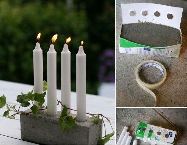 Подставки для свечей из цемента