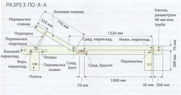 Шезлонг в виде лежанки с регулируемой спинкой