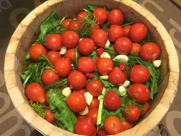 Засолка помидоров в деревянной кадке
