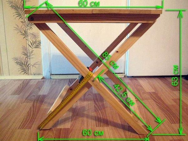 Схема раскладной модели стола