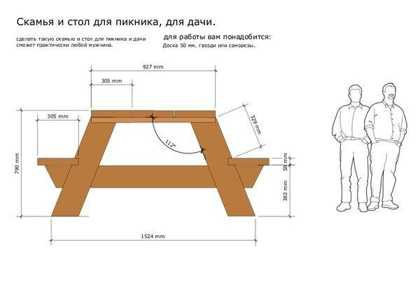 Чертеж стола со скамейками