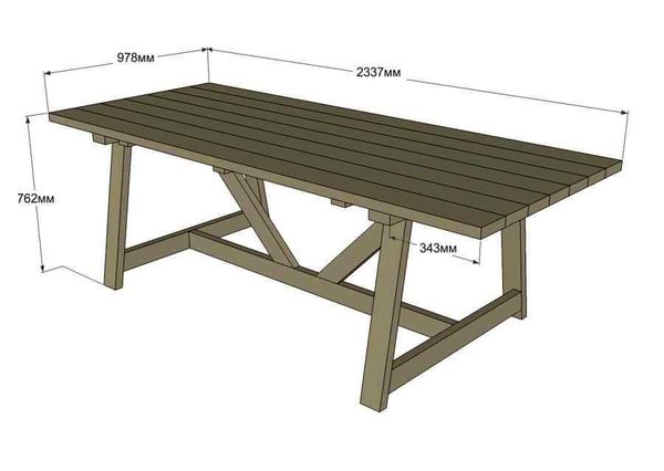 Чертеж деревянного стола для беседки