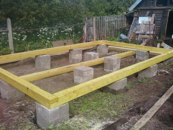 Столбчатый фундамент для веранды