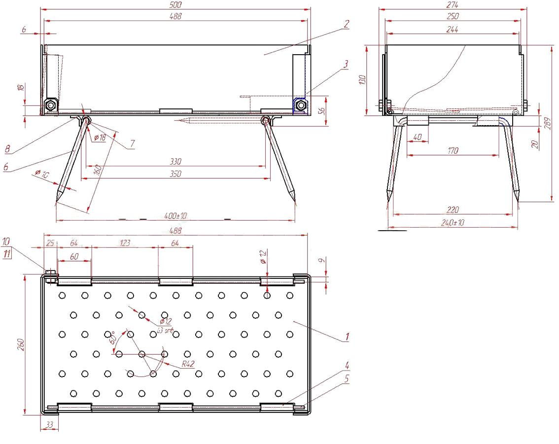 Схема-чертеж самодельного складного мангала