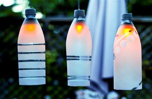 Садовые светильники из пластиковых бутылок