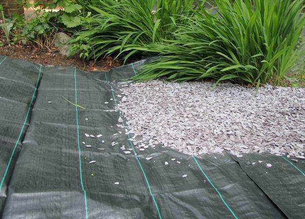 Перед укладкой садовых дорожек подготовленную площадку застилают слоем геотекстиля